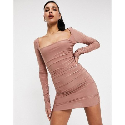 クラブエル ロンドン Club L London レディース ワンピース ミニ丈 ワンピース・ドレス London Square Neck Ruched Mini Dress In Rose Brown