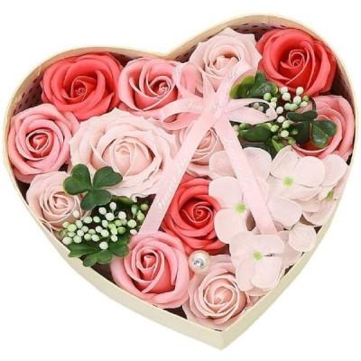 Kugusa ソープ フラワー 石鹸花 枯れない花 フレグランス ボックス アレンジ メッセージカード付き (ピンク(ハート))