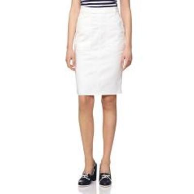 ベネトンバックポケット刺繍ミディカットオフタイトスカート
