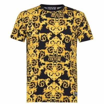 ヴェルサーチ VERSACE JEANS COUTURE メンズ Tシャツ トップス All Over Baroque T Shirt Black E