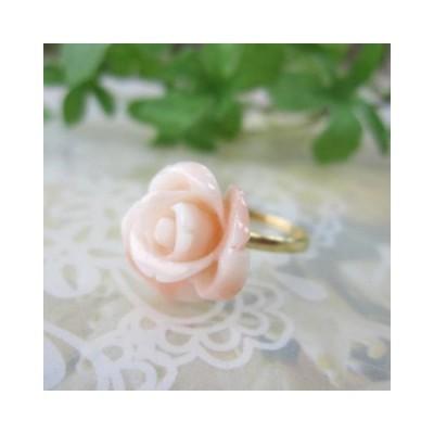 ミッド珊瑚の豪華なバラの花の指輪・リング /〔K18 or K18WG〕/『宝石サンゴ』