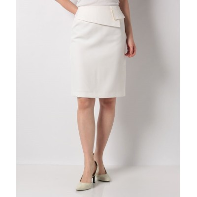(salire/サリア)メタルパーツ付ペプラムスカート/レディース ホワイト
