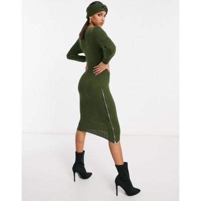 ナーナー NaaNaa レディース ワンピース ヘッドバンド ミドル丈 zip side split midi jumper dress with matching headband in khaki カーキ