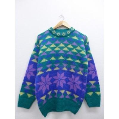 古着 レディース セーター 90年代 雪柄 モヘア 青緑系【spe】