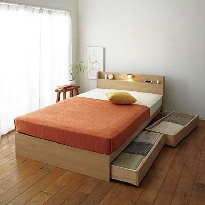 収納ベッド(ライト付き)/2口コンセント付き・キャスター付き引き出し/ナチュラル/シングル