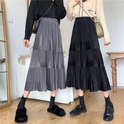 ティアード風フレアースカート ロングスカート ウエストゴム プリーツ フリーサイズ グレー ブラック