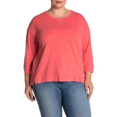 デモクラシー レディース Tシャツ トップス Mixed Media Scoop Neck Top (Plus Size) ROWA ROSE
