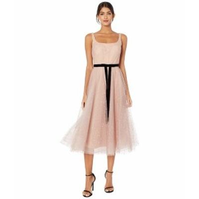 マルケサノット レディース ワンピース トップス Sleeveless Glitter Tulle Tea-Length Gown w/ Velvet Ribbon Waist Trim Blush