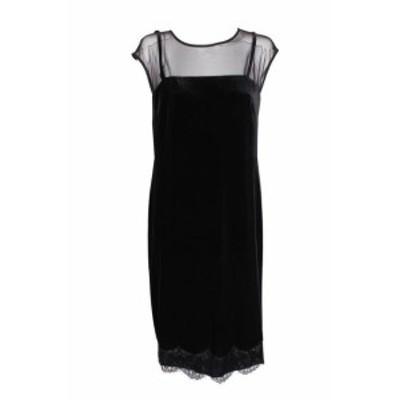 ファッション ドレス Sl fashions black lace hem velvet mesh slip dress