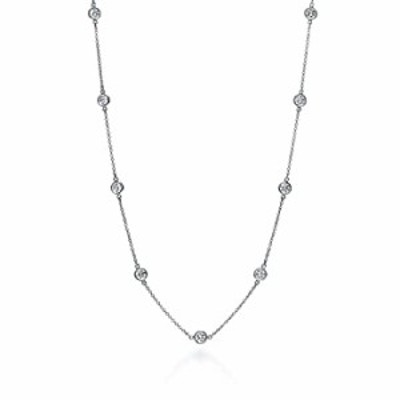 """Sterling Silver Round Cubic Zirconia Station Necklace 18""""-30"""" (16)"""