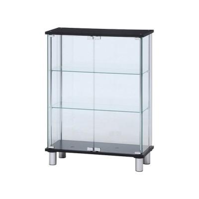 【メーカー直送】 不二貿易 ガラスディスプレイケース3段 ワイド BK TMG-G126-2 BK 99486 KNS