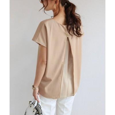 tシャツ Tシャツ ポンチ背中ジップ半袖トップス