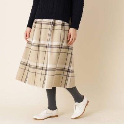 クチュール ブローチ Couture brooch 【手洗い可】ビックチェックレースアップフレアスカート (ベージュ)