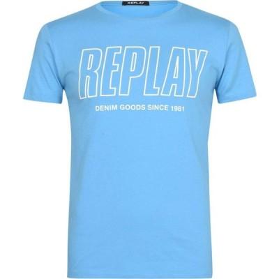 リプレイ Replay メンズ Tシャツ ロゴTシャツ トップス Outline Logo T Shirt Azure