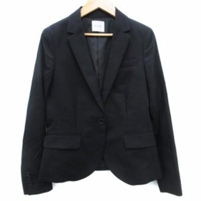 【中古】プラステ ジャケット テーラード ミドル丈 ウール 総裏地 シングルボタン 2 黒 ブラック /FF32 レディース