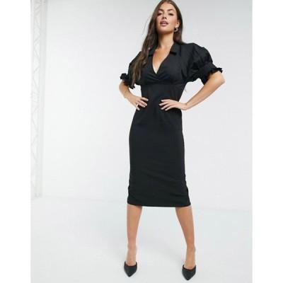 エイソス レディース ワンピース トップス ASOS DESIGN collared mix fabric midi pencil dress in black