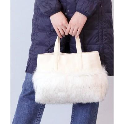 トートバッグ バッグ :ファー切り替えキャンバストート