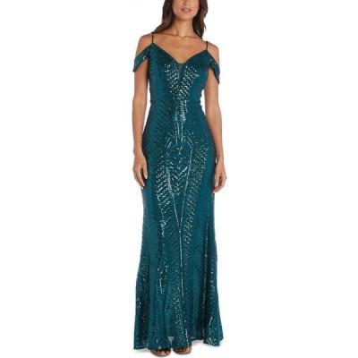 ナイトウェイ Nightway レディース パーティードレス オフショルダー ワンピース・ドレス Sequin Cold-Shoulder Gown Emerald Green
