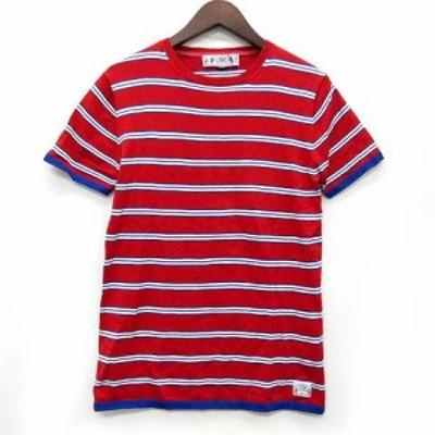 【中古】バル Bal サマーニット Tシャツ コットン 半袖 ボーダー クルーネック レッド 赤 M メンズ