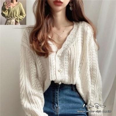 秋新作 レディースセーター ニット  透け 体型カバー 編み カーディガン 薄手  冷房対策 きれいめ  ゆったり カジュアル 透け感で見せ
