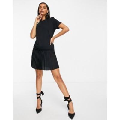 エイソス レディース ワンピース トップス ASOS DESIGN mini t-shirt dress with pleated hem in black Black