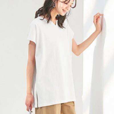 ヴィオラ エ ヴィオラ Viola e Viola 綿100%キーネックゆったりTシャツ (オフホワイト)