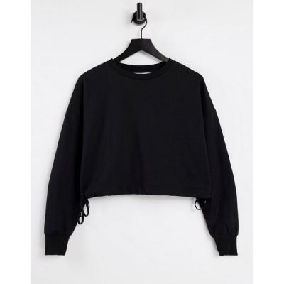 スタイルチート Style Cheat レディース スウェット・トレーナー クロップド トップス tie side cropped sweatshirt co-ord in black ブラック