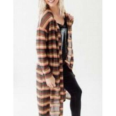 Lush ラッシュ ファッション トップス Lush Womens Brown Size Small S Button Down Stripe Long Knit Cardigan