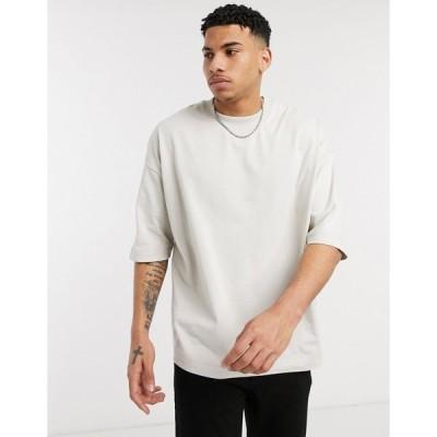 エイソスホワイト 半袖Tシャツ メンズ ASOS DESIGN oversized heayweight t-shirt with half sleeve and chunky neck in beige エイソス ASOS
