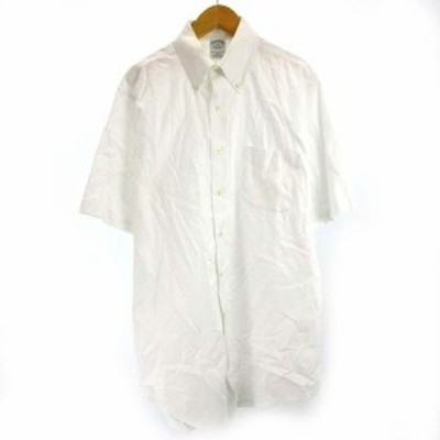 【中古】ブルックスブラザーズ BROOKS BROTHERS ドレスシャツ ワイシャツ 半袖 ボタンダウン 白 ホワイト 15 1/2 約M SSS8 メンズ