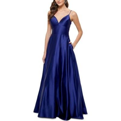 ベッツィアンドアダム Betsy & Adam レディース パーティードレス Vネック ワンピース・ドレス Satin V-Neck Ball Gown Royal Blue
