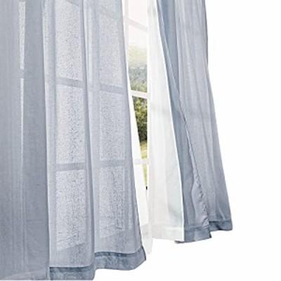 NICETOWN 二重レースカーテン 遮像 目隠し 外から見えにくい 透けない プライバシー保護 亜麻っぽい ネイビー 幅100cm×丈178cm 2枚組 無