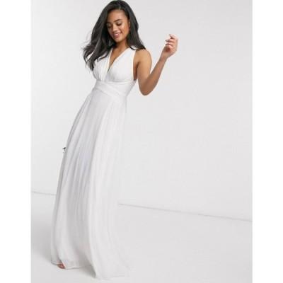 エイソス ASOS DESIGN レディース ワンピース ラップドレス マキシ丈 Bridesmaid ruched bodice drape maxi dress with wrap waist ホワイト