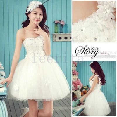 お姫系 ウェディングドレス 単肩 ワンショルダー 花柄付き パーティードレス ミニ丈 花嫁ドレス レディース