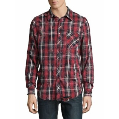 ハドソン Men Clothing Plaid Cotton Casual Button-Down Shirt