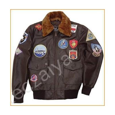 Top Gun Leather Jackets for Men - Brown Cowhide Leather Sheepskin Bomber Jacket並行輸入品