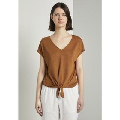 トムテイラーデニム レディース Tシャツ トップス Print T-shirt - mango brown mango brown