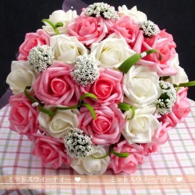 ウエディングブーケ 造花 結婚式 安い 花嫁 ブライダルブーケ 手作り ローズ ブーケ ブートニア 二次会