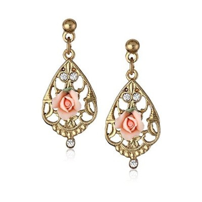 1928 Jewelry Porcelain Pink Rose and Crystal Mosaic Gold Drop Earrings