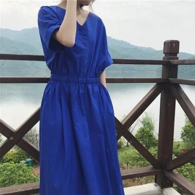 シャツドレス 無地半袖コットンドレス カジュアル Vネックレディースロングドレス