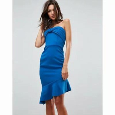 エイソス ワンピース ASOS Bandeau Ruched Midi Pep Hem Dress Cobalt
