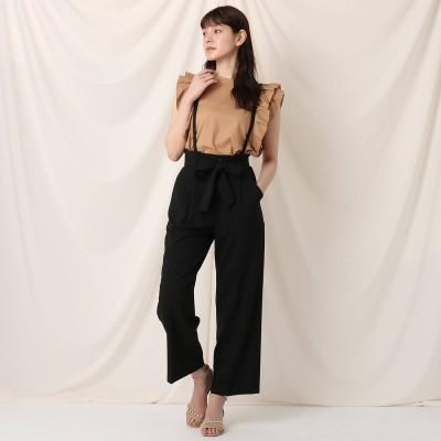 クチュール ブローチ Couture brooch リネンライクサロペットワイドパンツ (ブラック)