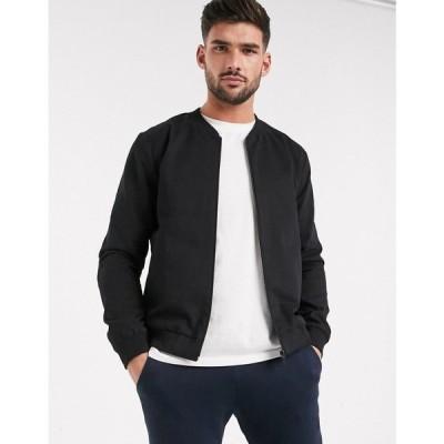 ニュールック New Look メンズ ブルゾン ミリタリージャケット アウター lightweight cotton bomber jacket in black ブラック