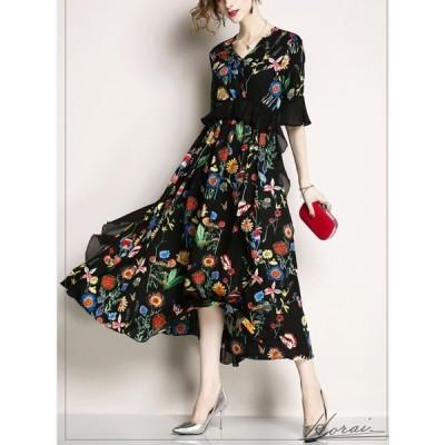 花柄 ボタニカル Vネック フレア 袖コンシャス 袖あり ドレス 結婚式 お呼ばれ パーティードレス ロング ロングドレス ワンピース 春 秋