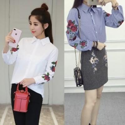 花柄 刺繍 がおしゃれな 長袖 シャツ オシャレ かわいい デート 春 夏 人気 コーデ