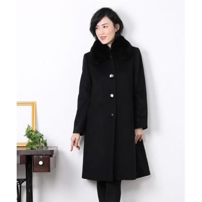 【サンキョウショウカイ】 カシミヤ 100% コート ファー フォックス ロング レディース ブラック 13号 sankyoshokai