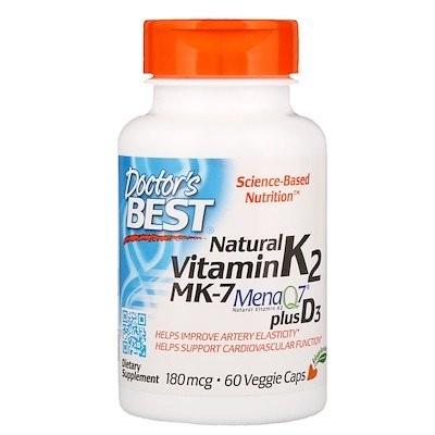 ナチュラルビタミンK2 MK-7、MenaQ7プラスビタミンD3配合、180 mcg、植物性カプセル60錠