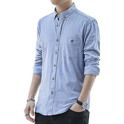 カジュアル ボタンダウンシャツ ストライプ柄 長袖 メンズ(ライトブルー, M)
