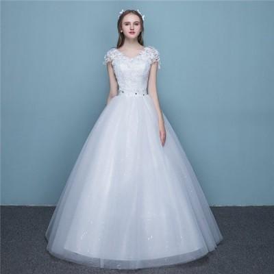 店長おすすめ 激安 超人気 ウェディングドレス aラインドレス レース 二次会 Vネック マキシ デザイン 花嫁 披露宴 ブライダル 結婚式