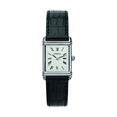 Michel Herbelin Womens Esprit Art Deco Black Leather Strap 17478/08 並行輸入品